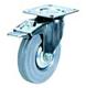 Промышленные колеса с площадкой. Поворотные, с тормозом, серая резина, роликоподшипник.