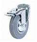 Промышленные колеса под болт с тормозом. Поворотные, серая резина, роликоподшипник.